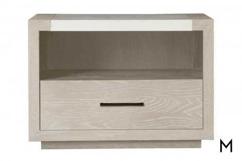 Modern Whitewashed Nightstand with Stone Top