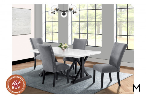 Marble Top 5-Piece Dining Set