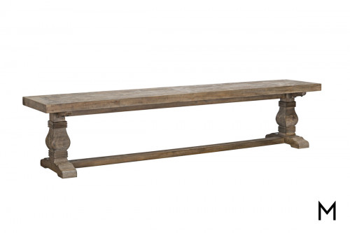 Rustic Double Pedestal Dining Bench