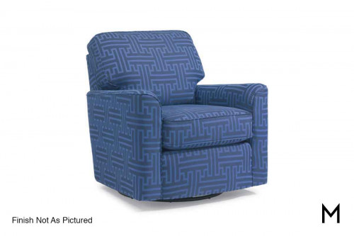 Darby Swivel Glider Chair in Patterned Navy
