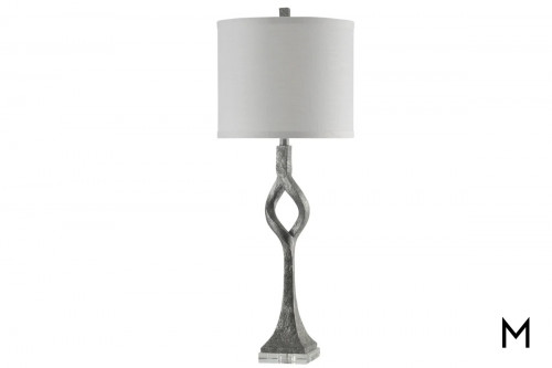 Buffet Table Lamp with Hardback Fabric Silver Shade