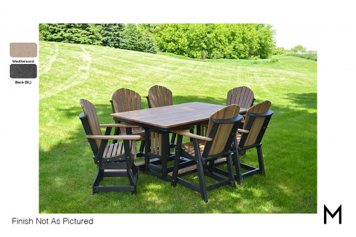 "Outdoor Dining Table 44""x72"" in Weatherwood and Black"