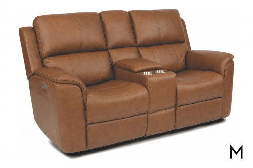 Leather Power Reclining Loveseat with Center Console