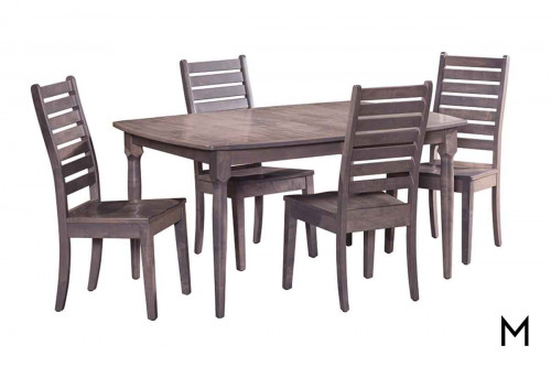 5 Piece Wormy Maple Dining Set