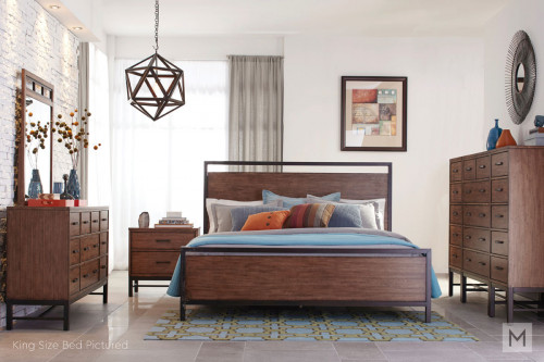 Affinity Queen Panel Bed in Mango with a Rustic Finish