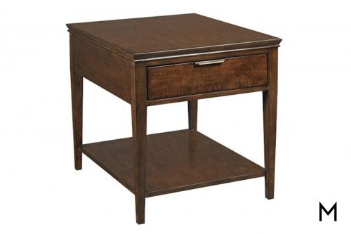 Traditional Square End Table with Drawer