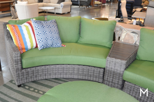 Outdoor 2 Piece Sectional Sofa with Round Ottoman
