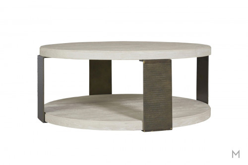Wilder Round Coffee Table with Mixed Metal and Wood