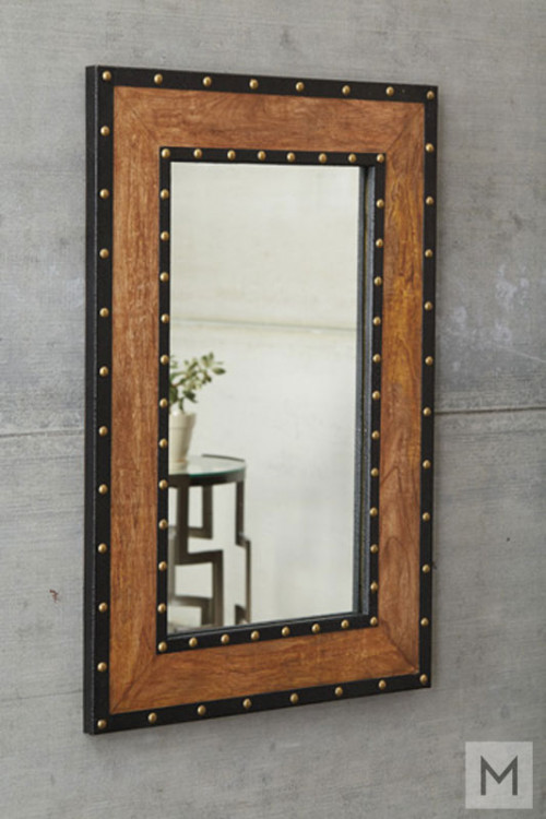 Dulcina Wall Mirror with Rivet Trim