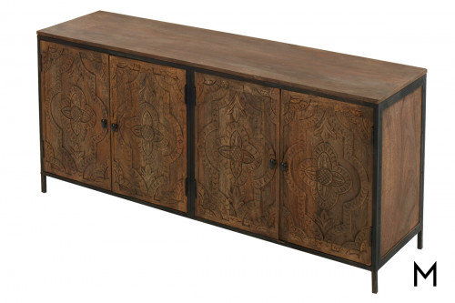 M Collection Jacobean Iron and Wood Sideboard with 4 Doors