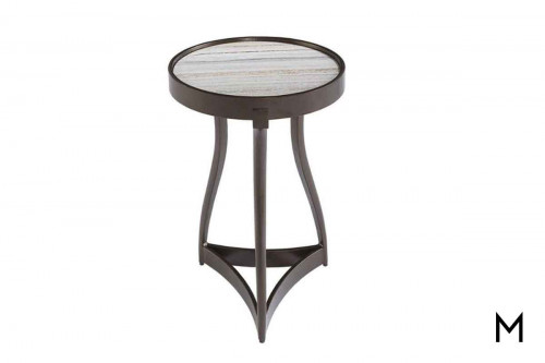 Geode Quartz Martini Table featuring a Metal Base and Travertine Top