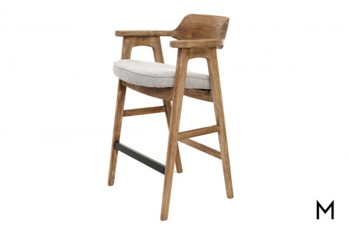 Vintage Rustic Barstool with Light Gray Cushion