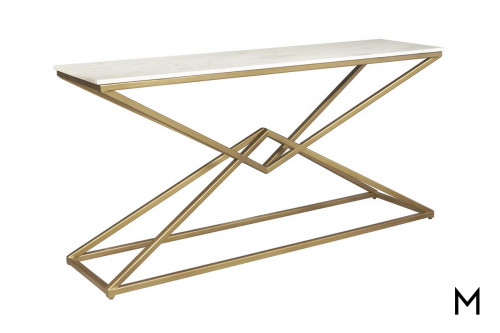 Pyramid Sofa Table with Marble Top