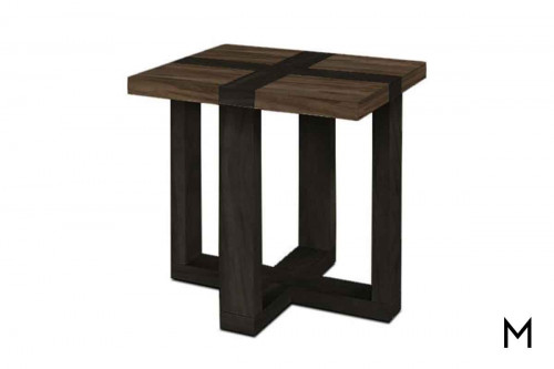 Skyline End Table in Graphite and Steel