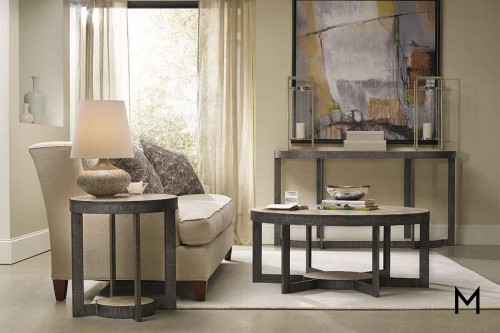 Mill Valley Round End Table featuring Travertine Top