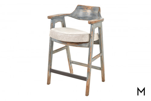 Vintage Rustic Counter Stool with Light Gray Cushion