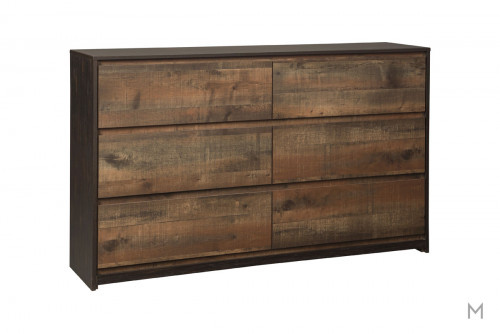 Windlore 6 Drawer Dresser in Dark Brown with a Rustic Finish