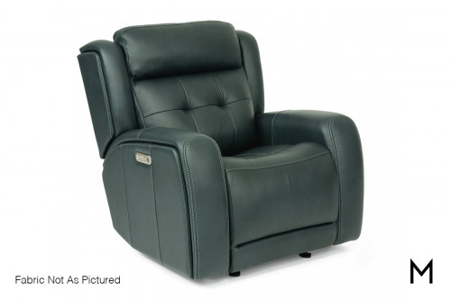 Leather Power Recliner with Power Headrest in Slate