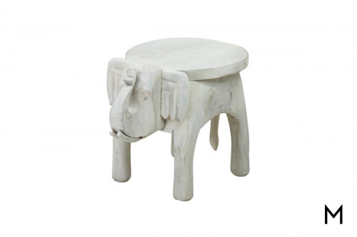 M Collection Small Carved Elephant Stool