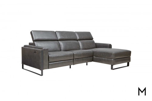 Contemporary Reclining Sofa with Chaise Lounge & Power Headrests