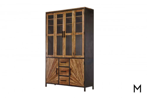 M Collection Pinwheel Construct Cabinet with Glass Doors and Drawers