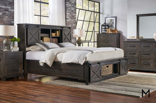 Queen Sun Valley 4 Piece Bedroom Set with Rotating Storage