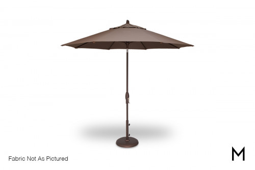 9-Foot Auto Tilt Umbrella with Base in Champagne