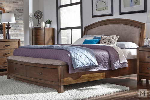 Avalon III Queen Storage Sleigh Bed in Pebble Brown