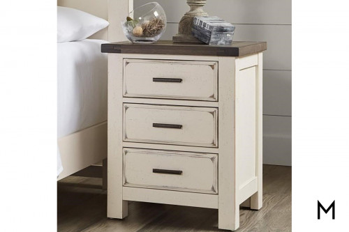 Farmhouse Nightstand with 3-Drawers
