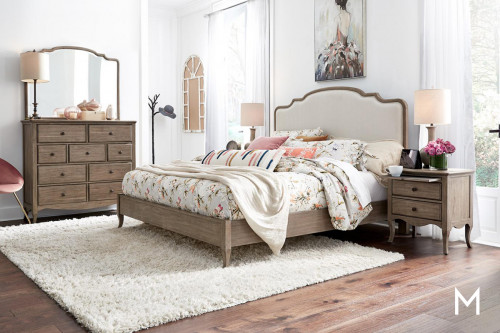 Provence Patine Upholstered King Bed