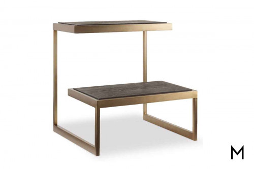 Curata Tiered End Table with Brushed Brass Metal Details