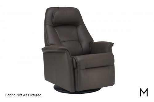 Contemporary Swing Power Recliner with Adjustable Headrest