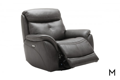 Homerun Swivel Power Recliner in Kipton Steel Gray Leather