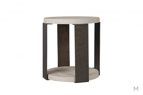 Wilder Round End Table with Mixed Metal and Wood