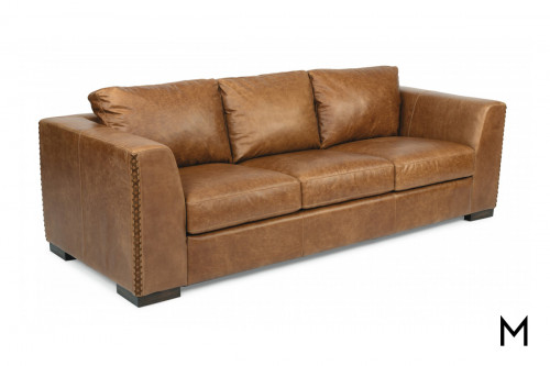 Leather Sofa with Drop Down Console