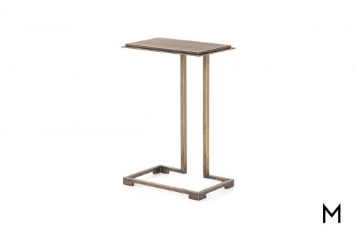 Acid Etch End Table in Antique Brass