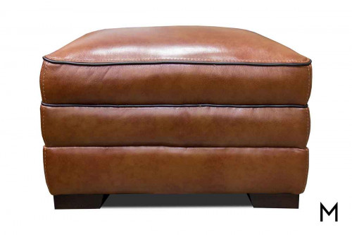 M Collection Stampede Leather Ottoman in Chestnut