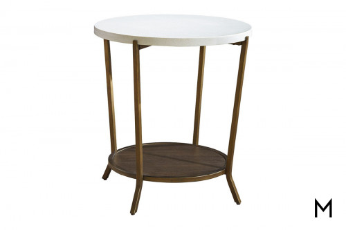 Round End Table with Stone Top