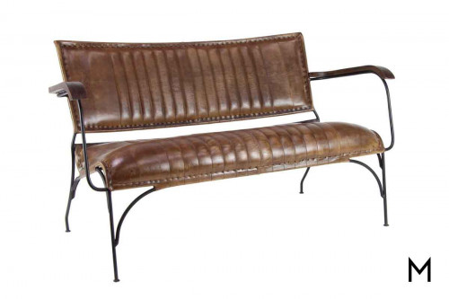 DecMode Rustic Leather Settee
