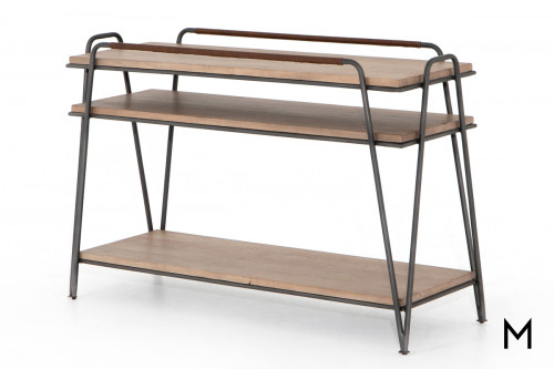 Etagere Console Table with Leather Wrapped Top Handles