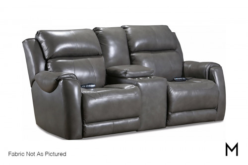 M Collection Safe Bet Power Reclining Loveseat with Center Console
