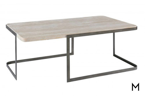 Deaton Cocktail Table with Travertine Top