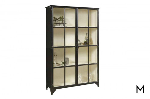 Maura Iron Display Cabinet with Glass Doors