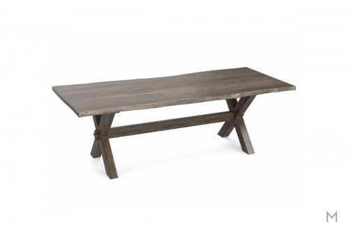 "Live Edge 90"" Rectangular Dining Table in Steel"