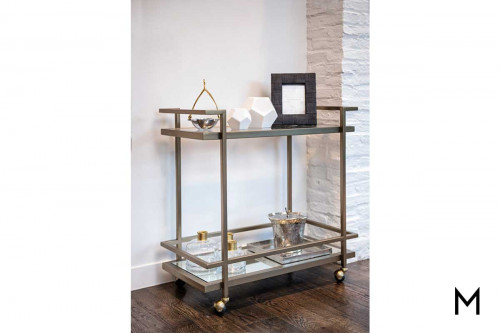 Brentwood Bar Cart in Antique Brass