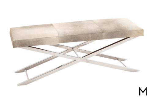 Hair-on-Hide Upholstered Bench