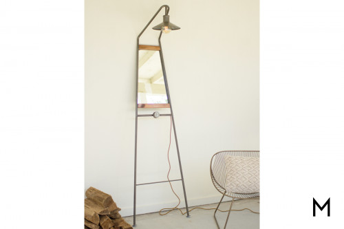 Leaning Floor Mirror & Lamp