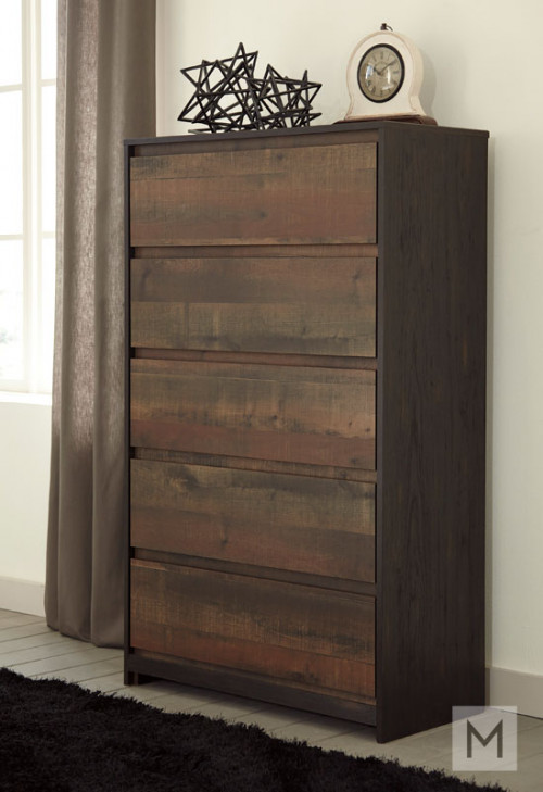 Windlore 5 Drawer Chest in Dark Brown with a Rustic Finish