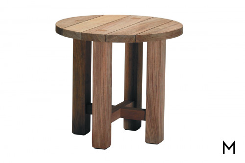 Round Teak End Table