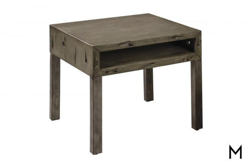 M Collection Rustic Weathered End Table